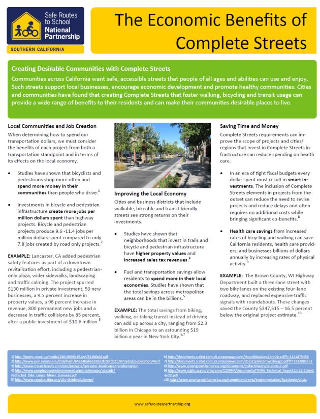 Economic Benefits of Complete Streets