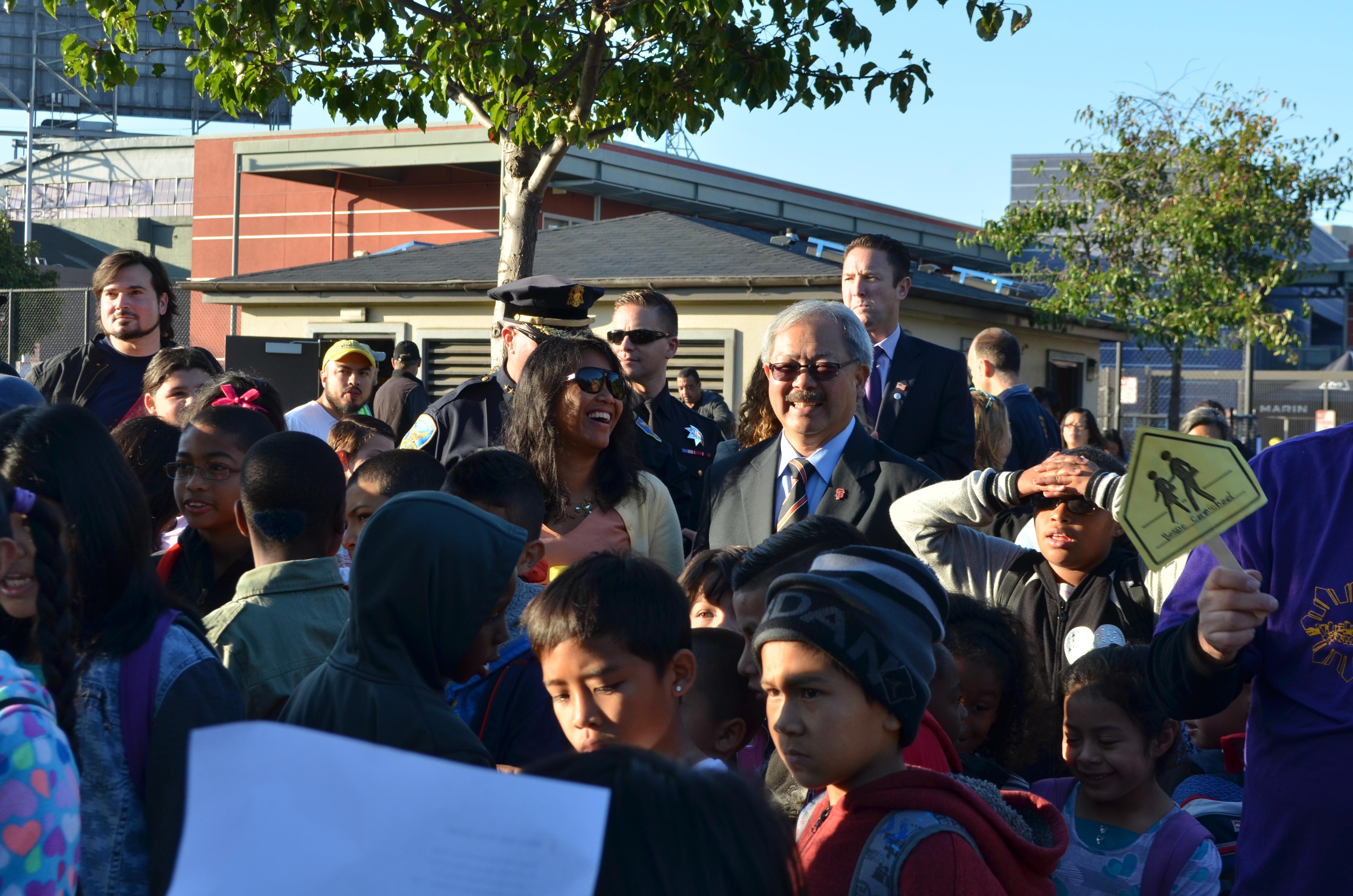 San Francisco Mayor Ed Lee at San Francisco's Walk and Roll to School Day, photo courtesy Mayor's Office